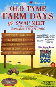 Old Tyme Farm Days & Swap Meet @ Spirit of the Suwannee Music Park   Live Oak   Florida   United States
